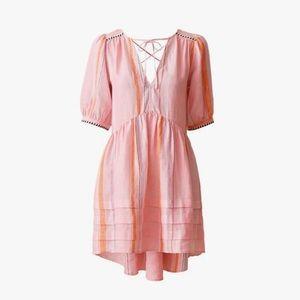 Lemlem X H&M Dress M Short Pink Linen Stripe Mini